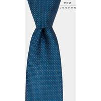 Mens Moss London Teal Textured Tie - Green