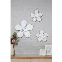 Next Set of 3 Wooden Flower Plaques - White