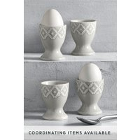 Next Set of 4 Geo Embossed Egg Cups - Grey