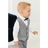 Boys Next Grey Check Waistcoat, Shirt And Bow Tie Three Piece Set (3mths-7yrs) - Grey