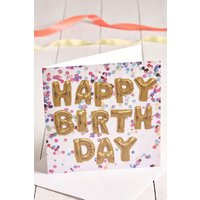 Next Large Letter Balloon Birthday Card - Gold