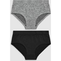 Womens Next Black/Grey Seamless Sports Shorts Two Pack - Black