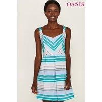 Womens Oasis Blue Stripe Skater Dress - Black