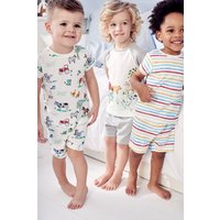 Boys Next Multi Stripe/Animal Pyjamas Three Pack (9mths-8yrs) - White