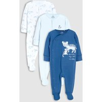 Boys Next Blue Tiger Character Embroidered Sleepsuits Three Pack (0mths-2yrs) - Blue