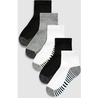 Boys Next Multi Mid Cut Sport Socks Five Pack (Older) - Black