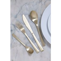 Next 16 Piece Brushed Gold Effect Cutlery Set - Gold