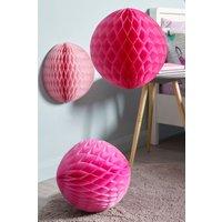 Next Set of 3 Pom Pom Hanging Decoration - Pink