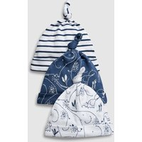 Boys Next Navy/White Delicate Elephant Tie Top Hats Three Pack (0-18mths) - Blue