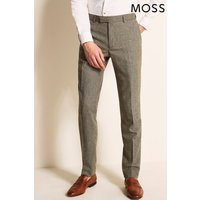 Mens Moss London Green Skinny Fit Sage Herringbone Tweed Trouser - Green