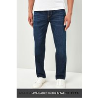 Mens Next Mid Blue Loose Fit Jeans With Stretch - Blue