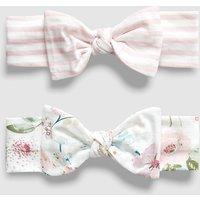 Girls Next Ecru Floral/Pink Stripe Headbands Two Pack (0mths-2yrs) - Pink