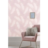Next Paste The Wall Blush Feather Wallpaper - Pink