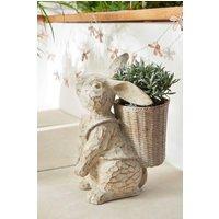 Next Rabbit With Basket Planter - Natural