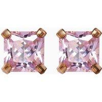Womens Next Sterling Silver Pink Cubic Zirconia Stud Earrings - Pink