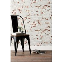 Next Paste The Wall Distressed Bricks Wallpaper - Grey