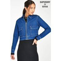'Womens Superdry Denim Cropped Jacket -  Blue