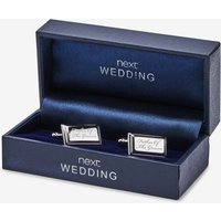 Mens Next Silver Tone Wedding - Father of the Groom Cufflinks - Silver