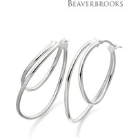 Womens Beaverbrooks Silver Double Hoop Earrings - Silver