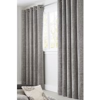 Next Textured Chenille Eyelet Lined Curtains - Silver