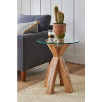 Next Oak and Glass Side Table - Natural