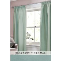 Next Faux Silk Pencil Pleat Blackout/Thermal Curtains - Teal
