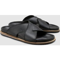 Mens Next Black Embossed Cross Strap Sandal - Black