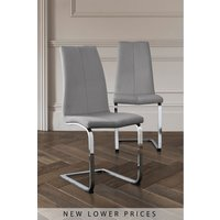 Next Set Of 2 Opus Cantilever Dining Chairs - Silver