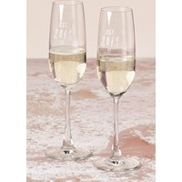 Next Set of 2 Est in 2019 Champagne Flutes - White