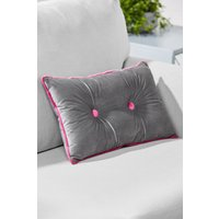 Next Button Velvet Cushion - Grey