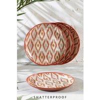 Next Set of 4 Ikat Patterned Melamine Side Plates - Orange