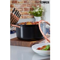 Tower Black And Rose Gold 24cm Casserole Pot - Black