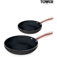 Set of 2 Tower Black And Rose Gold Frying Pans - Black