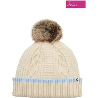 Womens Joules Anya Bobble Hat With Faux Fur Pom - Cream