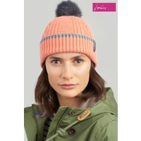 Womens Joules Anya Bobble Hat With Faux Fur Pom - Orange