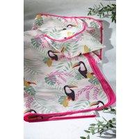 Next Toucan Print Foldaway Picnic Blanket - Pink