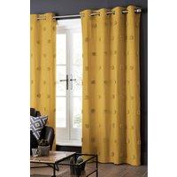 Next Tufted Pom Pom Eyelet Curtains - Yellow