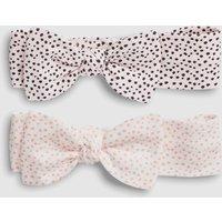 Girls Next White/Pink Spot Headbands Two Pack (0-18mths) - Pink