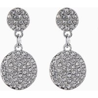 Womens Next Platinum Plated Jewelled Disc Drop Earrings - Silver