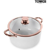 Tower White And Rose Gold 24cm Casserole Pot - White