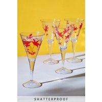 Next Set of 4 Palm Tree Plastic Wine Glasses - Pink