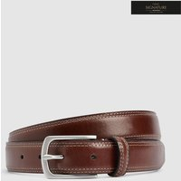 Mens Next Light Brown Signature Italian Leather Twin Stitch Belt - Brown