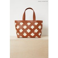 Womens French Connection Brown Troy Leather And Canvas Bag - Brown