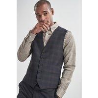 Mens Next Navy Skinny Fit Check Suit: Waistcoat - Black