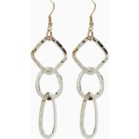 Womens Next Silver Tone Hammered Drop Earrings - Silver