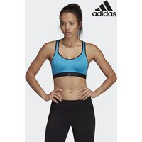 Womens adidas Gym Blue/Navy Stronger For It Racer Bra - Green