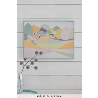 Next Artist Collection Pastel Peaks by Nicola Evans Framed Canvas - Blue
