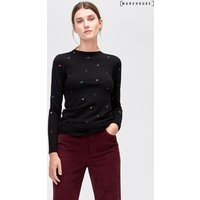 Womens Warehouse Heart Embroidered Jumper - Black