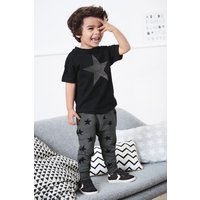 Boys Next Black/Grey Star T-Shirt and Jogger Set (3mths-7yrs) - Black