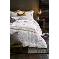 Next Tufted Geo Duvet Cover and Pillowcase Set - White